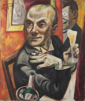 Max Beckmann (Selbstporträt mit Sektglas, 1919)