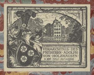 Exlibris mit dem Wappen der Familie von Holzhausen
