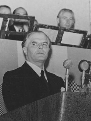 Fritz von Unruh bei seiner Rede in der Paulskirche