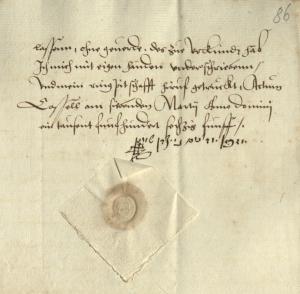 Unterschrift und Petschaft von Josef zum Goldenen Schwan