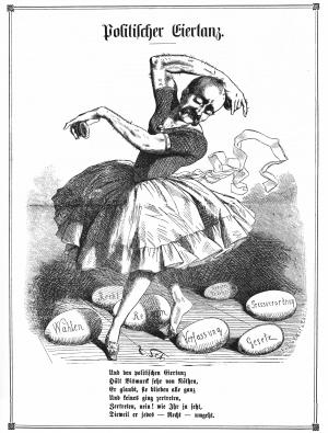 Politischer Eiertanz (Karikatur auf Bismarck)