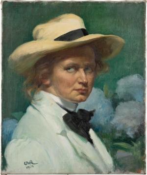 Ottilie W. Roederstein (Selbstbildnis mit Hut, 1904)