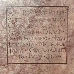 Gruftplatte von Franz Georg von Schönborn